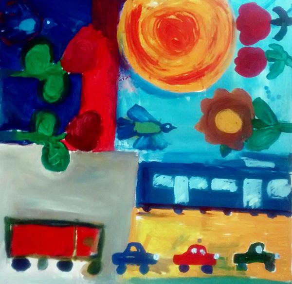 von Kindern gemalt: ein fast quadratisches Bild mit Rosen, Autos, Tram, Bus und in der Mitte einem blauen Vogel