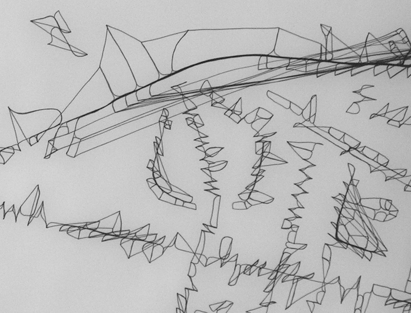 Tusche-Linien auf Transparentpapier